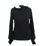 Trendy jumper with scarf neckline S/M black