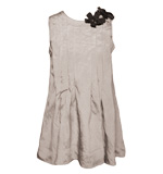 Plissé top with gem stone flowers grey