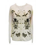 L´amour Tatoo Print trendy Cardigan beige S
