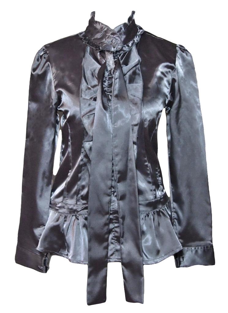 satin bluse mit schluppe s grau born2style fashion store. Black Bedroom Furniture Sets. Home Design Ideas