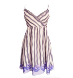 Striped satin dress with roses grey M
