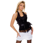 Neckholder corsage top black with lace XS