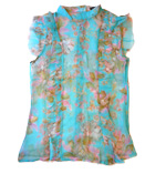 Traffic People Cinderella Frills silk top turquoise