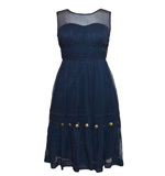 Traffic People Reeds silk dress dark blue S or M