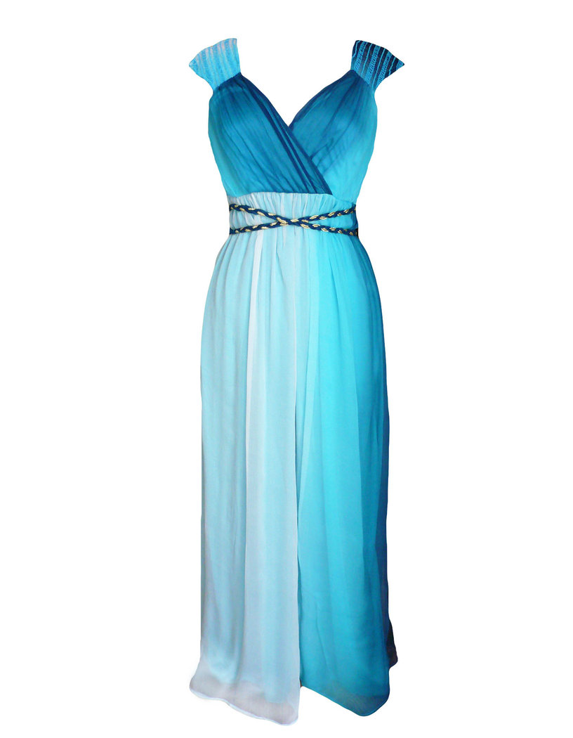 traffic people blessing maxi dress silk blue m born2style fashion store. Black Bedroom Furniture Sets. Home Design Ideas