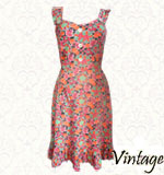 Vintage flower power 70´s dress S/M orange