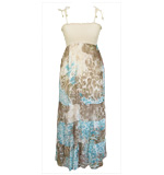 Animal Print Midi dress beige blue XS