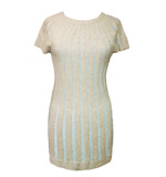 Lavand Caramel dress silver striped beige S-M