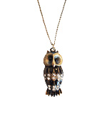 Owl necklace with gem stones bronze-schwarz