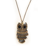Owl necklace flexible bronze