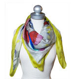 St-Martins Shanita bird silk scarf grey