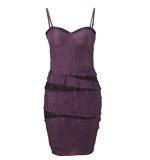 Lipsy Tiered Lace silk dress purple XS-S