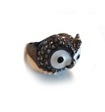 Owl paste gem ring dark grey M