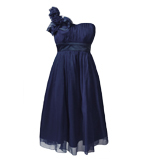 Fever London Ivy silk dress navy L