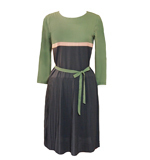 Nice Things Pleated Contrast dress green S