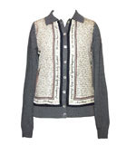 Nice Things Writing Silk Cardigan grau