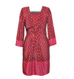 Nice Things Tie Print silk dress red M