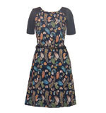 Yumi Feather Print dress blue S-L