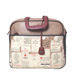 Nice Things Maleta Old Book Print Tasche beige