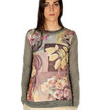 Nice Things Flowers Patch Pullover grau S/M