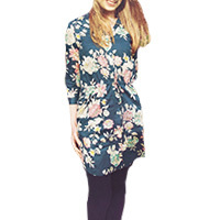 Nice Things Flowers tunic dress navy L