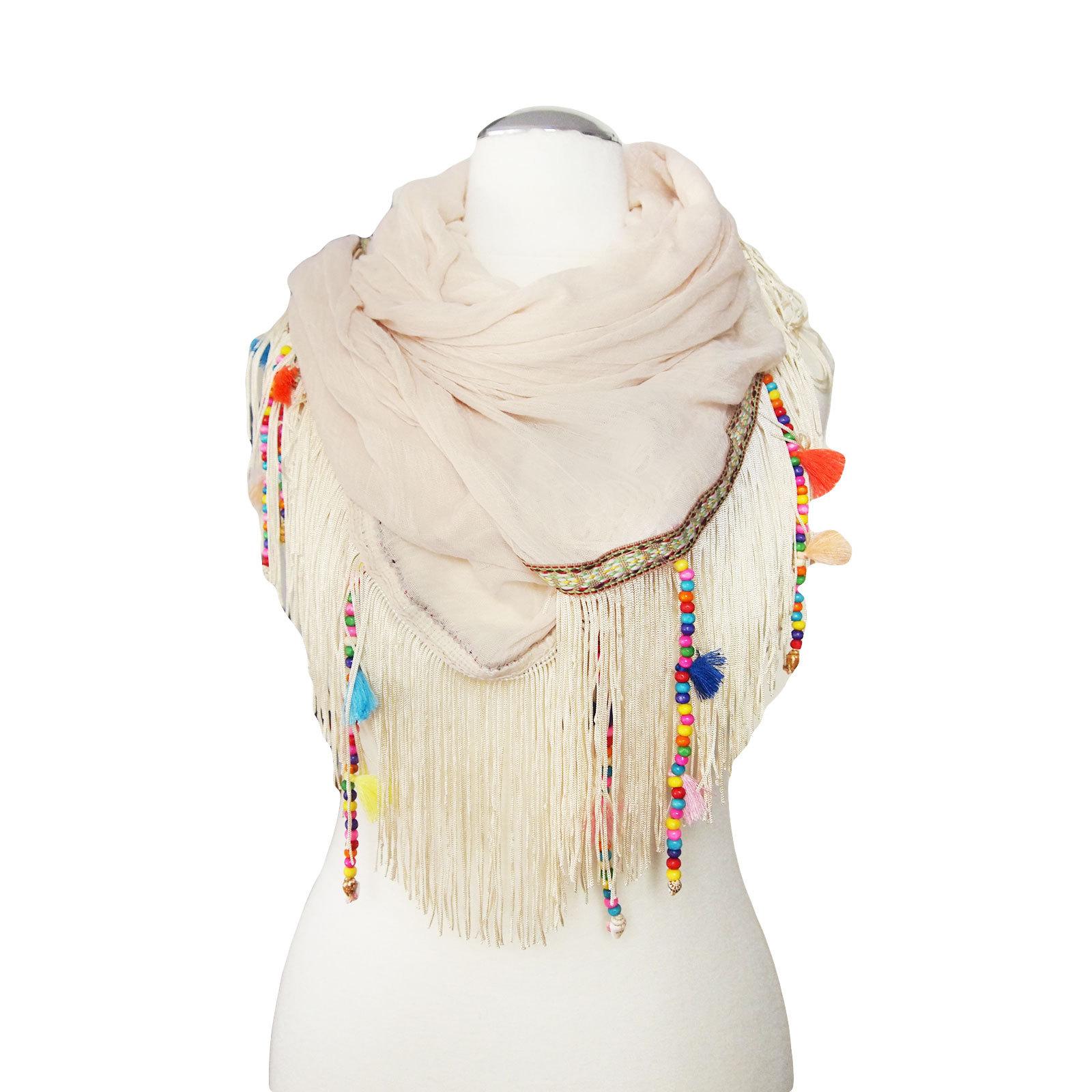 coachella fringe scarf beige born2style fashion store. Black Bedroom Furniture Sets. Home Design Ideas