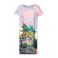 Uttam Eastern Sunset Print dress blue S-M