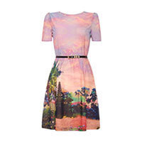 Uttam Eastern Sunset Print belted dress S