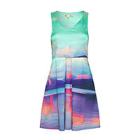 Yumi Mountain Print dress blue