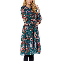 Yumi Owl and Flower Print Midi Kleid teal XS-S