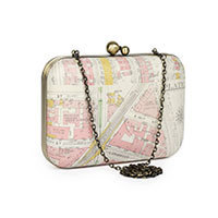 Nice Things City Map clutch cream