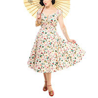 Collectif Dolores Doll Atomic Flamingo Print dress