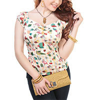Collectif Dolores Doll Atomic Flamingo Print Top