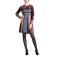 Ivko Jacquard Dress Wollkleid brown-red (62523) Gr.38