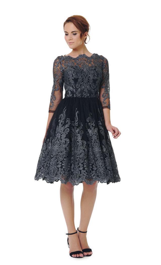 Chi Chi Lottie Kleid schwarz-silber S