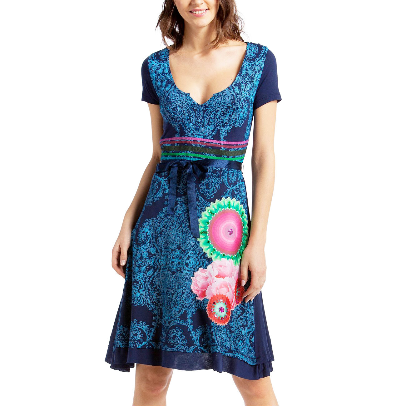 desigual damen kleid vest lorena rep blau marino 5001 42 herstellergr e xxl. Black Bedroom Furniture Sets. Home Design Ideas