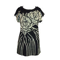 Mina Celia rose fringe dress black S/M