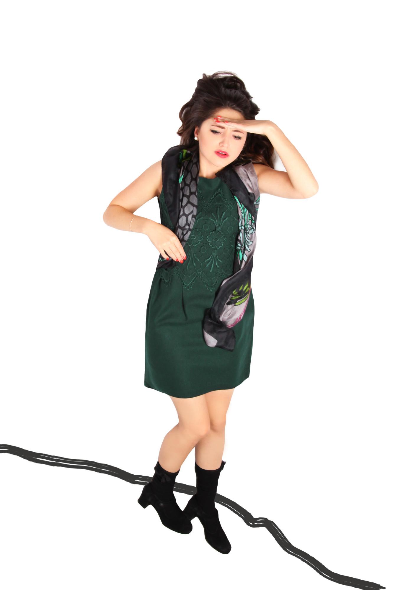 Darling Anya Kleid Spitze grün L - Born2Style Fashion Store