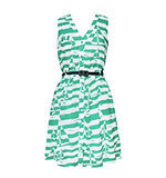 Yumi Boat and Stripe Kleid mint M-XL