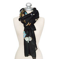 Madame Butterfly silk scarf black