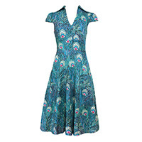 Fever London Arlington Peacock Print Tea Kleid S/M
