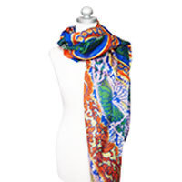 Bonne Chance silk scarf blue