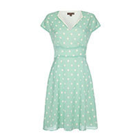 Fever London Amalfi Polka Dot Kleid aqua Gr.38