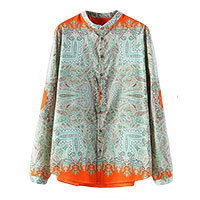 Paisley Me Bluse orange grün S/M