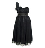 Fever London Ivy Seiden Kleid schwarz S o. L