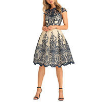Chi Chi Kelsey Kleid navy-creme L/ Uk14
