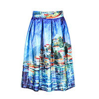 Artist Satin skirt boats blue S/M