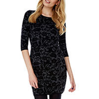 Yumi Knitted Jacquard Floral Print dress black