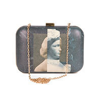 Nice Things Marble clutch black
