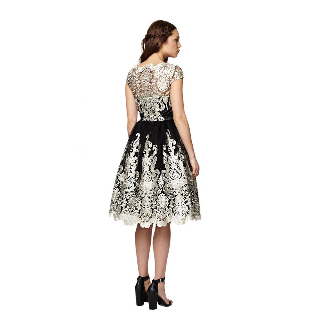 chi chi clara kleid schwarz-gold m - born2style fashion store